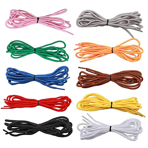 (Rocutus 140cm Colorful Round Pure Shoelace Strings Sports Athletic Sneakers Strings for Men Women,10 Pair for Each Pack)