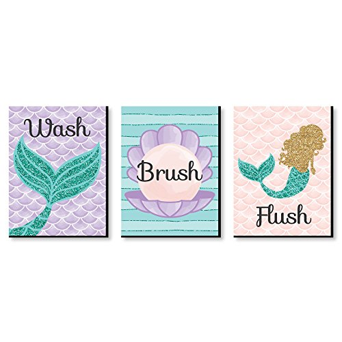 """Let's Be Mermaids - Kids Bathroom Rules Wall Art - 7.5"""" x 10"""" - Set of 3 Signs - Wash, Brush, Flush by Big Dot of Happiness"""