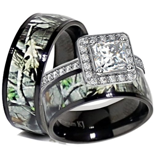His & Her Black Titanium Camo Sterling Silver Engagement Wedding Ring Set (Size Men 10; Women 6)