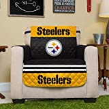 Pegasus Home Fashions NFL Pittsburgh Steelers Chair Reversible Furniture Protector with Elastic Straps, 75-inches by 65-inches