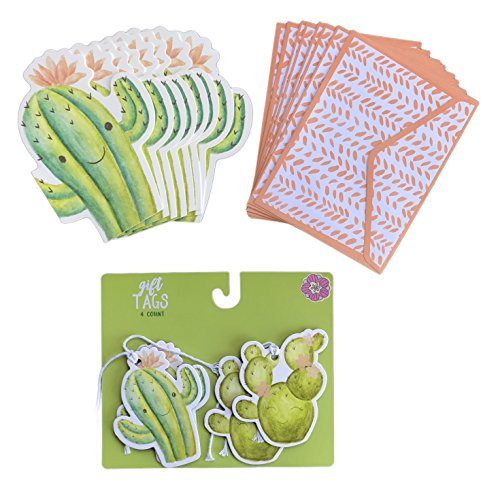 Cute Cacti Gift Tags and Greeting Note Cards with Envelopes Bundle of Gifting Stationary