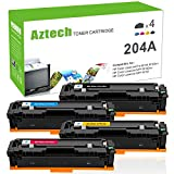 Aztech 4 Packs Compatible HP 204A CF510A CF511A CF512A CF513A Toner Cartridge for HP Color LaserJet Pro M154 M154nw MFP M180nw MFP M181 Printer Toner (Black/Cyan/Yellow/Magenta)