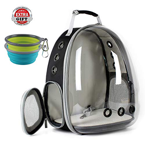 Cat Carrying Carrier Backpack, Space Capsule Bubble Pet Carrier Backpack for Small Dog, Transparent Waterproof Cat Hiking Travelling Backpack, Airline Approved (Grey) -