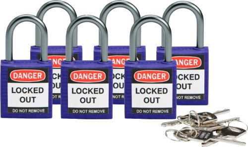 (Brady 118968 Purple, Brady Compact Safety Lock - Keyed Alike (6 Locks))