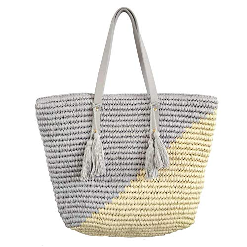 Natural Straw Tote Shoulder Bag Womens Large - Washable Lining BEACH'D -