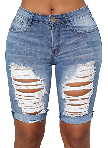 Sidefeel Women Mid Rise Distressed Rolled Cuffs Denim Ripped Bermuda Shorts Jeans Small Blue