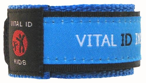 Insert Style Id Bands - Vital Id Child Safety Adjustable Wristband (Blue)