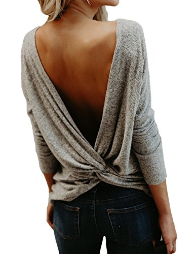 (Women's Sexy Backless Shirt Tops Long Sleeve Casual Knitted Blouses Grey)