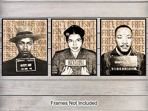 African American Wall Art Print - Perfect Gift for Teachers and Black History Month - Proud Decor for Home, Classroom, Office - 8x10 Photo - Martin Luther King, Rosa Parks, Malcolm X