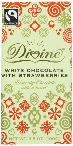 (Divine White Chocolate with Strawberries Bar, 3.5 Ounce (Pack of)
