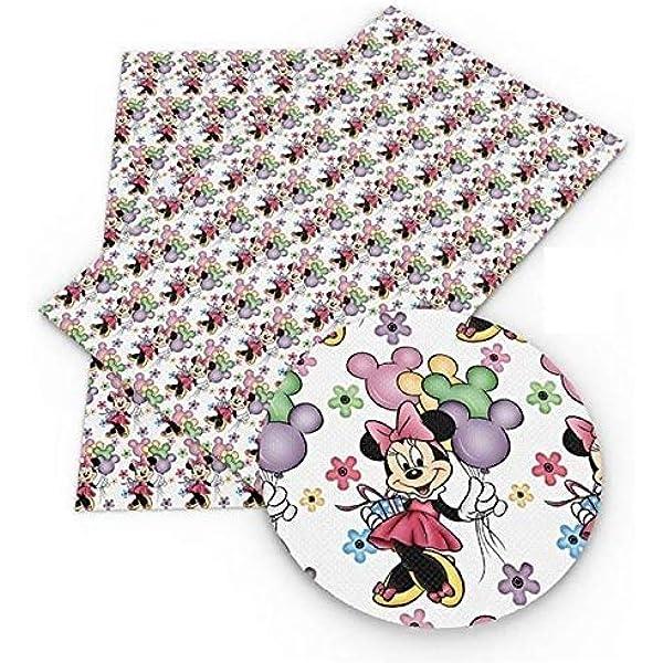 Disney A4 Vinyl Fabric Sheet 8x11 Faux Leather Disney Tsum Tsum Faux Leather Sheets DIY Hair Bows Earrings DIY