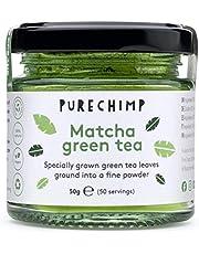 PureChimp Matcha-theepoeder, 50 g, ceremoniële kwaliteit uit Japan, vrij van pesticiden, recyclebare glazen pot en aluminium deksel