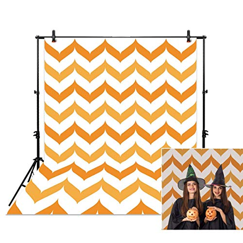 Allenjoy 5x7ft Photography Backdrop Background Halloween Orange Chevron Fall Autumn Newborn Baby Shower Props Photo Studio Booth]()