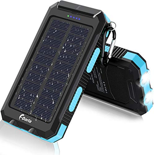 Solar Charger, F.Dorla 20000mAh Portable Outdoor Waterproof Solar Power Bank, Camping External Backup Battery Pack Dual 5V USB Ports Output, 2 Led Light Flashlight with Compass (Blue)