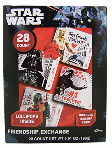 Star Wars Valentine's Day Cards Exchange with Lollipops, 28 Count