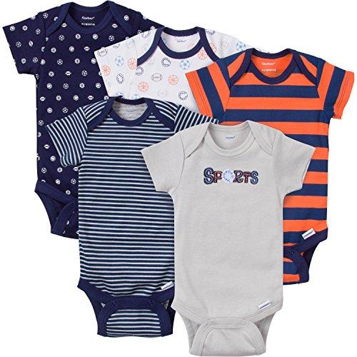 Gerber Baby-Boys Variety Onesies Brand Bodysuits, Sports, Newborn (Pack Of 5) Blue Onesies