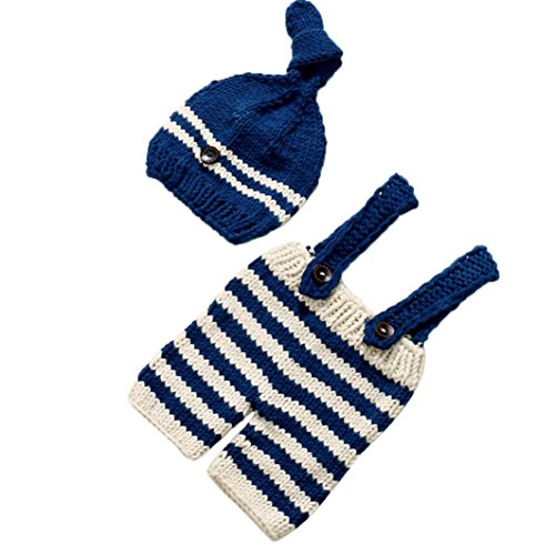 [Mokao Newborn Baby Costume, Girls Boys Crochet Knit Photography Prop Outfits (Navy)] (Halloween Costumes Ideas For Newborns)