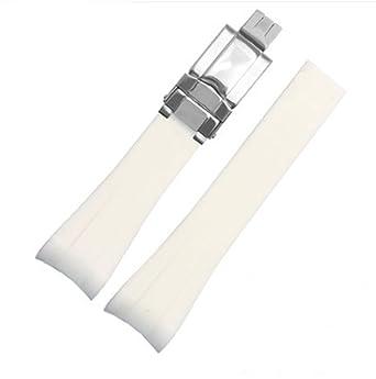 best cheap d0c16 98480 [Richie strap]腕時計ベルト 腕時計バンド 替えストラップ ラバー 取付幅20mm 適用:ロレックス ROLEX 用ラバーバンド(尾錠)  (ホワイト(シルバー))
