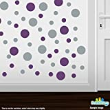 Set of 30 - Purple/Metallic Silver Circles Polka Dots Vinyl Wall Graphic Decals Stickers
