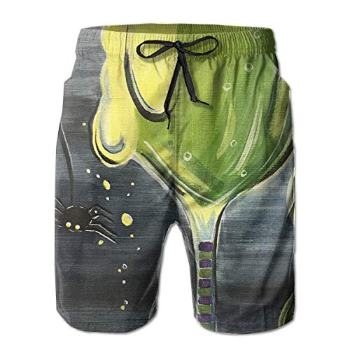 HFSST Halloween Cocktail Witches Brew Vintage Men Kid Male Summer Swimming Pockets Trunks Beachwear Asual Shorts Pants Mesh -