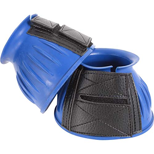 Cashel No Turn Rubber Bell Boots for Horses, Equine, Pair, Colors: Black, Blue, Red, Teal (Blue, Medium)