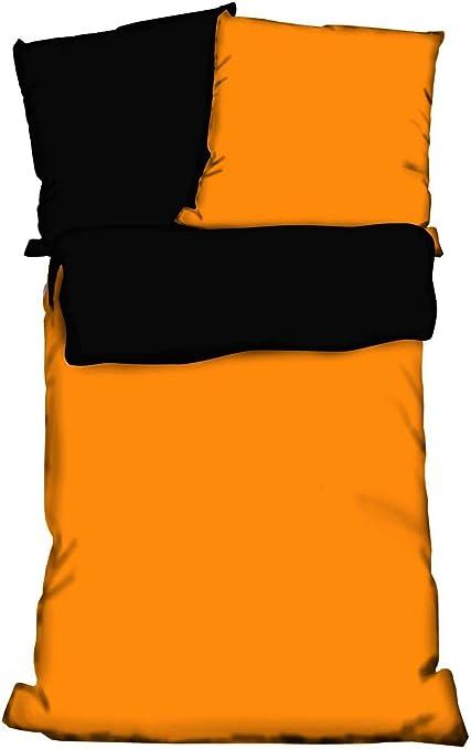 Microfaser Wendebettwäsche Orange Streifen Uni 135x200 cm 80x80 cm