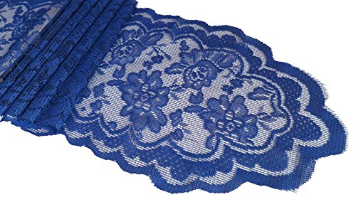 Goldstream Point Navy Blue 108 Inch x 9 Inch Lace Table Runner Narrow Wedding Chair Sash Roll Extra Long ()