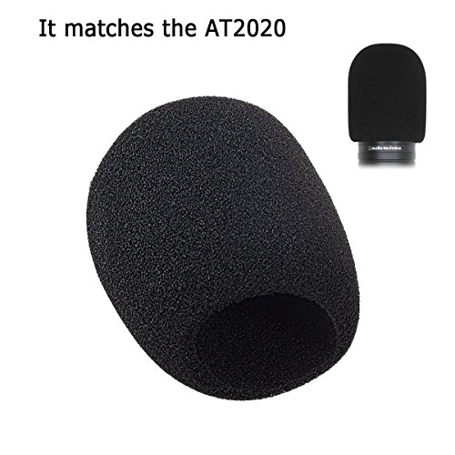 Acrux7 Foam Microphone Windscreen - Large Size Microphone Cover for Audio Technica AT2020 and other Large Mic (Black)