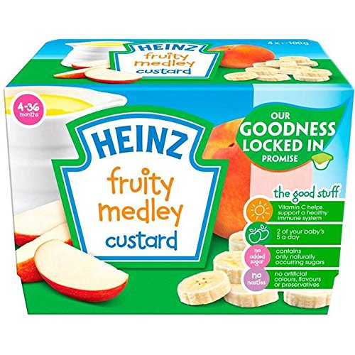 Heinz Fruity Custard Fruit Medley 4-36 Mths 4 x 100g