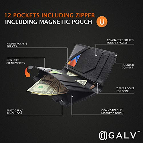 Waitress Waiter Server Book Organizer with Zipper Pocket Wallet for Waitstaff Black 5x9 and 12 Money Pockets with Pen Holder Fits Restaurant Guest Check Order Pad & Apron By Ogalv by Ogalv (Image #7)