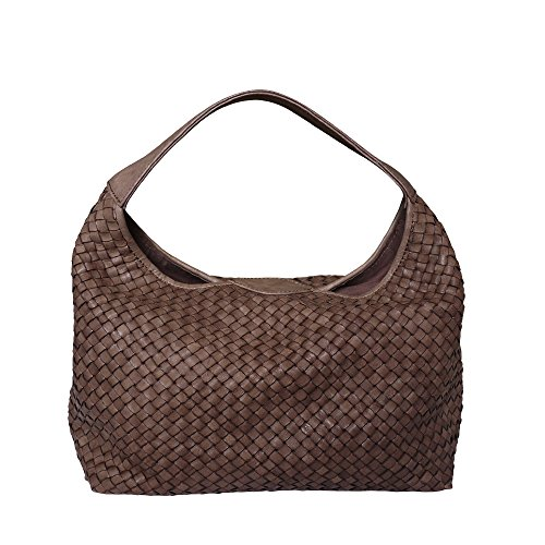Bucket Washed Hobo Italian Paolo Woven Bag Shoulder Hand Leather Handbag Brown Masi q10Ua0