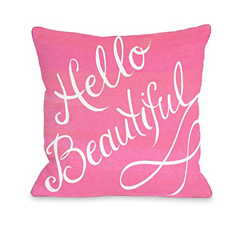 """One Bella Casa Hello Beautiful/Pink Bow Throw Pillow Cover by Timree Gold, 18""""x 18"""", Pink/White from One Bella Casa"""