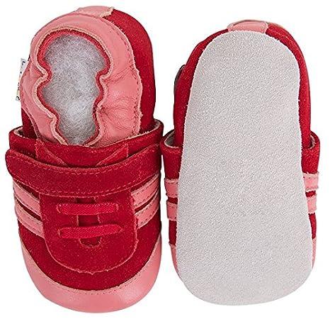 Lait et miel piel unidad lernschuhe patucos en Zapatos de Bebé diseño deportivo rojo rojo Talla:6-12 Meses IXPBg