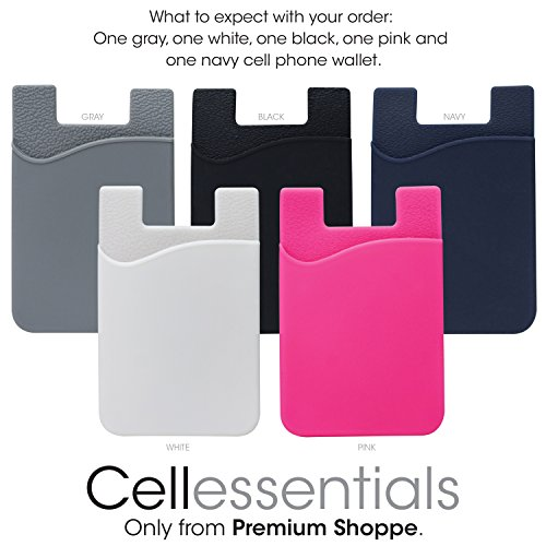 Cellessentials Card Holder for Back of Phone - Silicone Stick on Cell Phone Wallet with Pocket for Credit Card, ID, Business Card - iPhone, Android and Most Smart Phones - 5 Pack