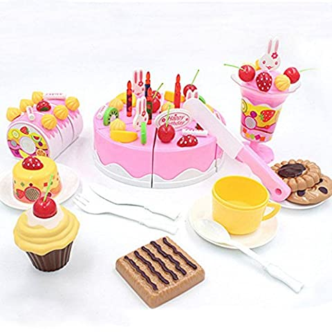 XENO-75Pcs Cake Toy Pretend Play Miniature Food Plastic Kitchen Children Girls Gift (Digimon Miniatures)