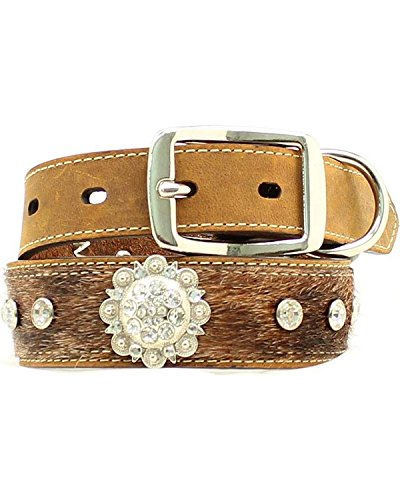 Blazin Roxx Unisex Hair-On-Hide Rhinestone And Concho Dog Collar Xs-Xl Brown Medium