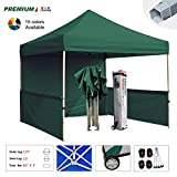 Eurmax Premium 10x10 Trade Show Tent Event Canopy Market Stall Canopy Booth Outdoor Canopy Bonus: Four (4) Weight Bags +Roller Bag (Forest Green)