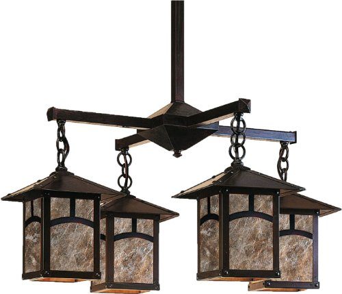 Arroyo Craftsman ECH-7/4A-AM-BZ Evergreen Collection 4-Light Chandelier, Bronze Finish with Almond Mica Panels