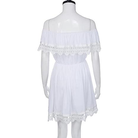 Niedlich Spitzenkleid Damen, DoraMe Frauen Schulter Minikleid Mode ...