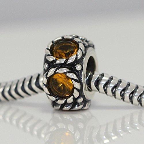 Sterling Silver Charm Birthstone November Flower For European Bracelet #EC584 .925 Bead Fits One Pandora, Biagi, Troll, Chamilla and Many Other European Charm #