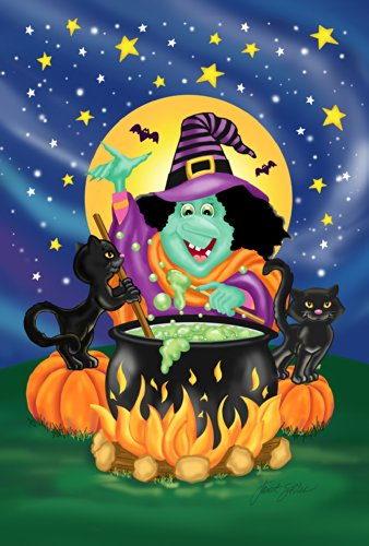 Toland Home Garden Witch's Brew 28 x 40 Inch Decorative Colorful Halloween Witch Cauldron Black Cat House Flag ()