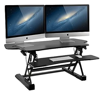 Mount-It! Standing Desk Sit-Stand Desk Converter 41 Inch Wide for Laptop, Desktop, Height Adjustable, Ergonomic, Gas Spring Arm, Free Standing, Easy Installation, Black