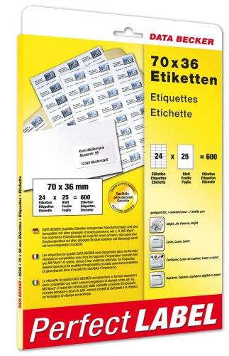 Data Becker 600 Etiketten 70 x 36 mm - Etiquetas de impresora (70 x 36 mm, DIN A4, 25 pieza(s))