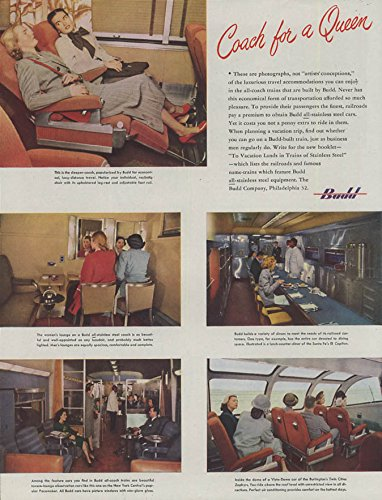 Coach for a Queen Budd Railroad Cars ad 1948 Vista-Dome Sleeper-Coach Diner -