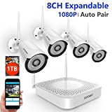 [2019 Update] Security Camera System Wireless,Safevant 8CH 1080P Security Camera System(1TB Hard Drive), 4PCS 1080P Wireless Security Cameras with Night Vision,Auto Pair,No Monthely Fee For Sale