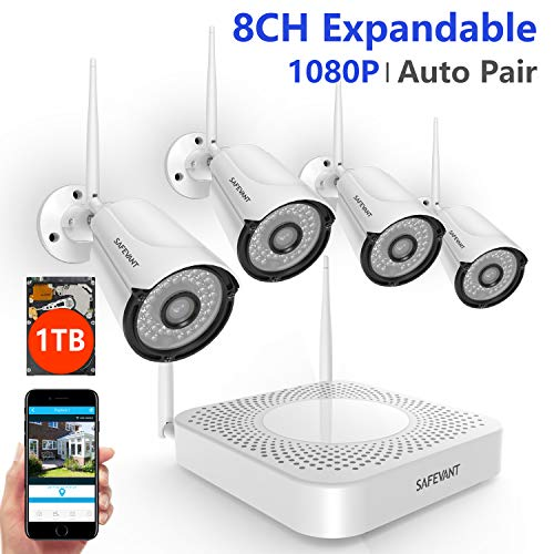 [2019 Update] Security Camera System Wireless,Safevant 8CH 1080P Security Camera System(1TB Hard Drive), 4PCS 1080P Wireless Security Cameras with Night Vision,Auto Pair,No Monthely Fee