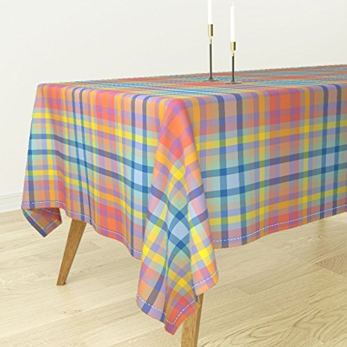 Tablecloth - Madras Plaid Preppy Squares Spring Pastel Easter by Peacoquettedesigns - Cotton Sateen Tablecloth 70 x ()