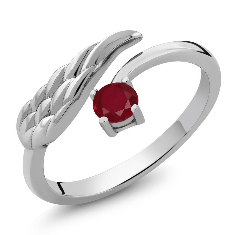 Sterling Silver Red Ruby Wing Ring 0.30 cttw 4mm Round Gemstone Birthstone (Available 5,6,7,8,9)