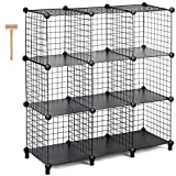 TomCare Cube Storage 9-Cube Metal Wire Cube Storage Storage Cubes Shelves Cube Closet Organizer Stackable Storage Bins DIY Storage Grids Modular Wire Cubes Bookshelf Bookcase for Home Office, Black