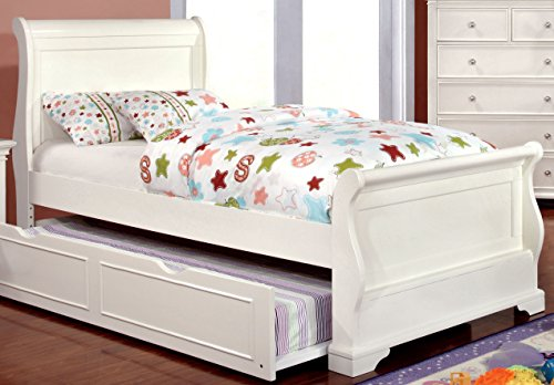 Furniture of America Maggie Transitional Youth Sleigh Bed, White, Twin